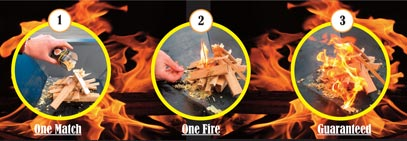 Three fires with steps: 1 match, 1 fire, guaranteed