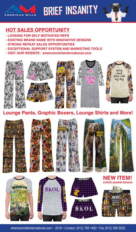American Mills BRIEF INSANITY Lounge Pants, Graphic Boxers, Lounge Shirts, crotch pocket boxers. Contact 612 759 1482
