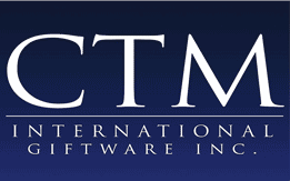 CTM International Giftware Logo, letters CTM in white on purplish background