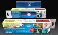 ForceField Universal Protective Headband in blue, showing product and packaging