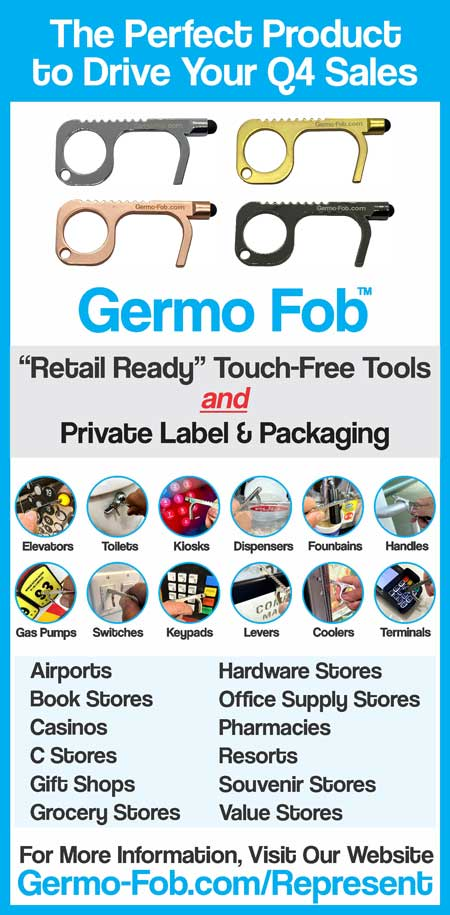 Germo-Fob touch-free tools for elevators toilets kiosks dispensers fountains handles gas pumps siwthces keypads levers colors terminal