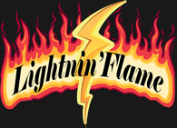 Lightnin' Flame words in fire with lightning bolt