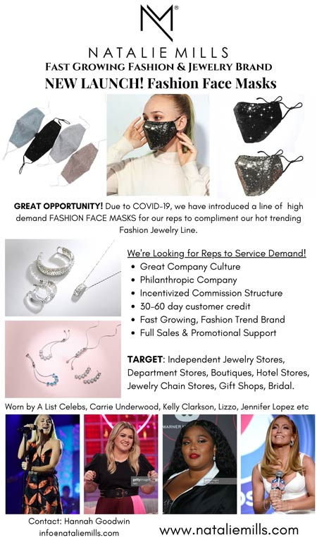 Natalie Mills Fashion Face Masks, Fashion Jewelry Independent Jewelry Stores, Departement Stores, Boutiques, Hotel Stores, Gift Shops, Bridal. Worn by Carrie Underwood, Kelly Clarkson, Lizzo, Jennifer Lopez