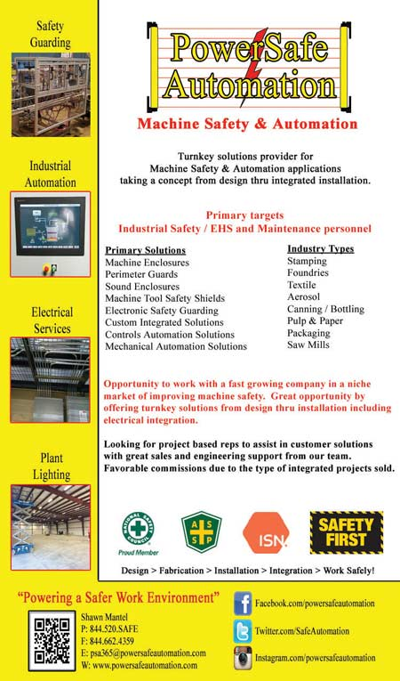 PowerSafe Automation Turnkey Safety Guarding Electrical Industrial Automation EHS Maintenance perimeter guarding machine enclosures proximity sensing