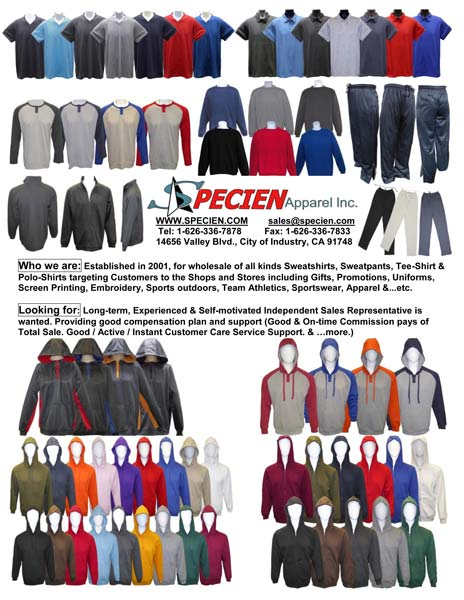 Specien Apparel product display sweatshirts sweatpants tee-shirts polo shirts for gift stores, promotions, uniforms, screen printing, embroidery, sports outdoors, team athletics, sportswear
