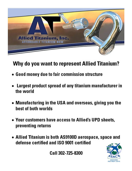 Allied Titanium largest product spread, US and overseas manufacturing, customers have acces to Allied's UPD sheets, AS9100D aerospace, space and defense certified and ISO 9001 certified