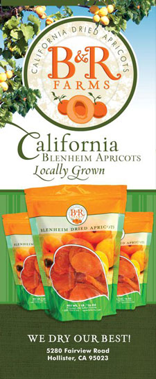 B & R Farms Logo handing from an apricot tree with packages of product displayed below