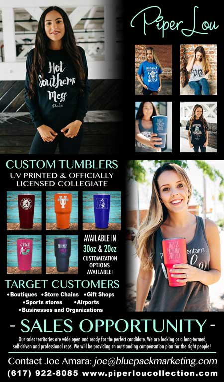 Custom Tumblers UV printed officially licensed collegiate; target customers boutiques store chains gift shops sports stores airports business organizations
