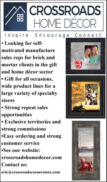 Crossroads Home Decor Looking for manufacture sales rep for bring and mortar client in the gift and home decor sector