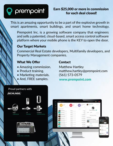 Prempoint patented, cloud-based smar access control where mobile phone is the KEY to open the door for commercial real estate developers, multifamily developers and property management companies